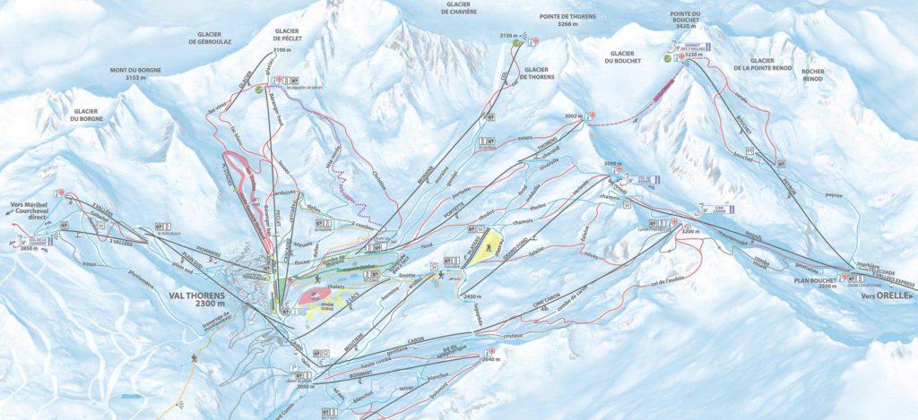 Plan de la Station de Val Thorens - Carte des pistes de ski