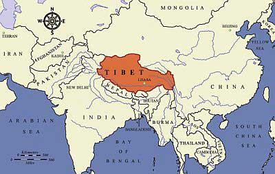 Himalaya sur la carte du monde