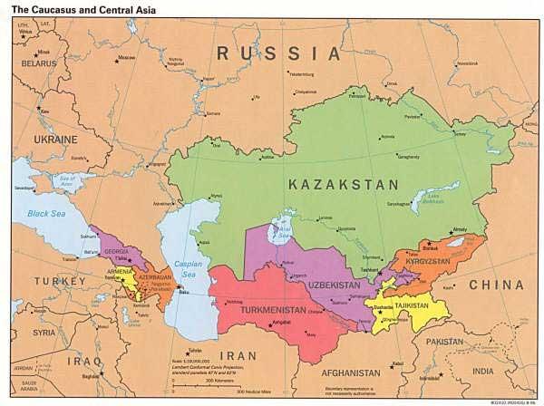 Asie centrale - carte du monde
