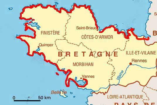 Vannes - Carte Bretagne sud