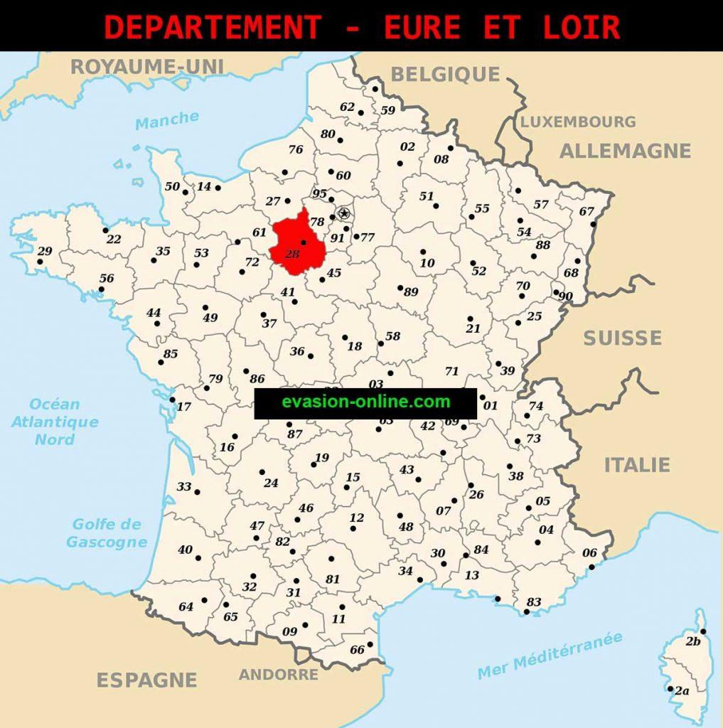 Carte du département Eure et Loir