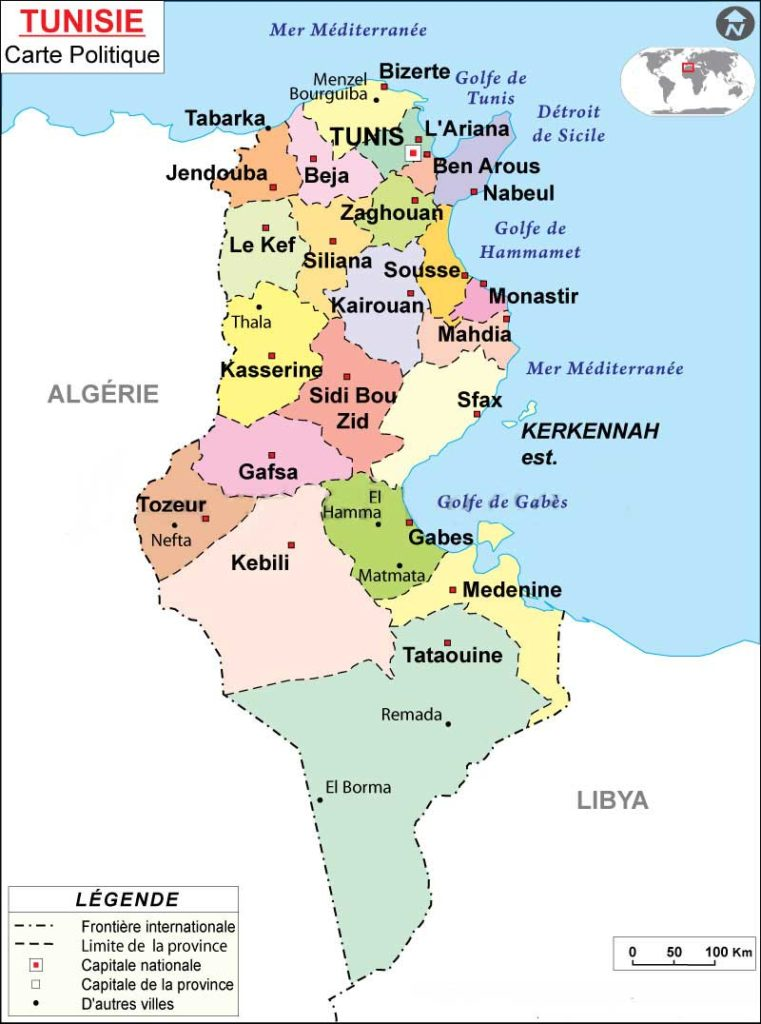 Carte de la Tunisie