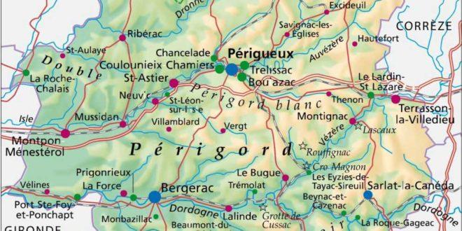 La Dordogne carte de France » Vacances - Arts- Guides Voyages