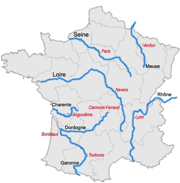Fleuve de la Dordogne - Carte