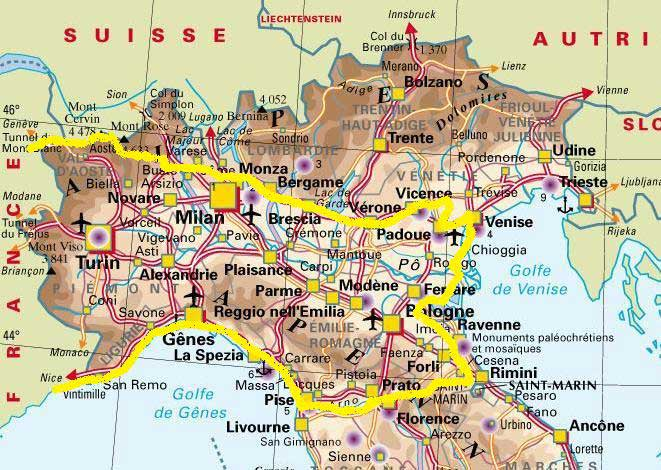 Carte Italie du Nord