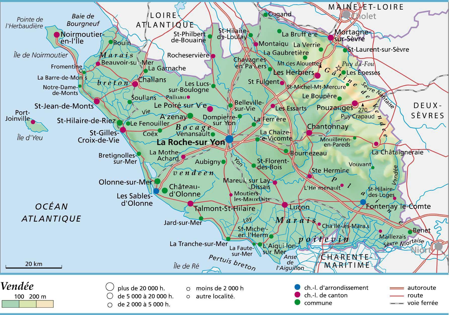 Carte Loire Atlantique Vendee.Carte Departement Vendee Vacances Arts Guides Voyages