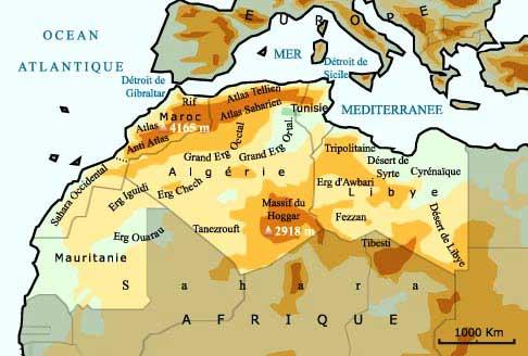 Atlas - Carte du Maghreb