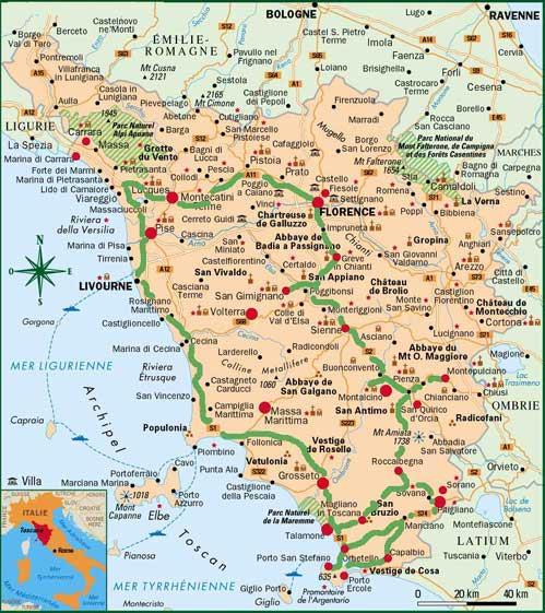Carte de Toscane - Villes et villages