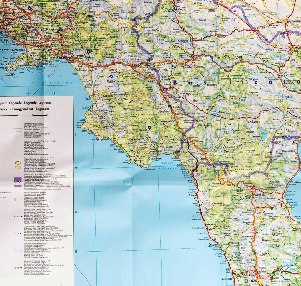 Carte routière Italie - Nord et Sud