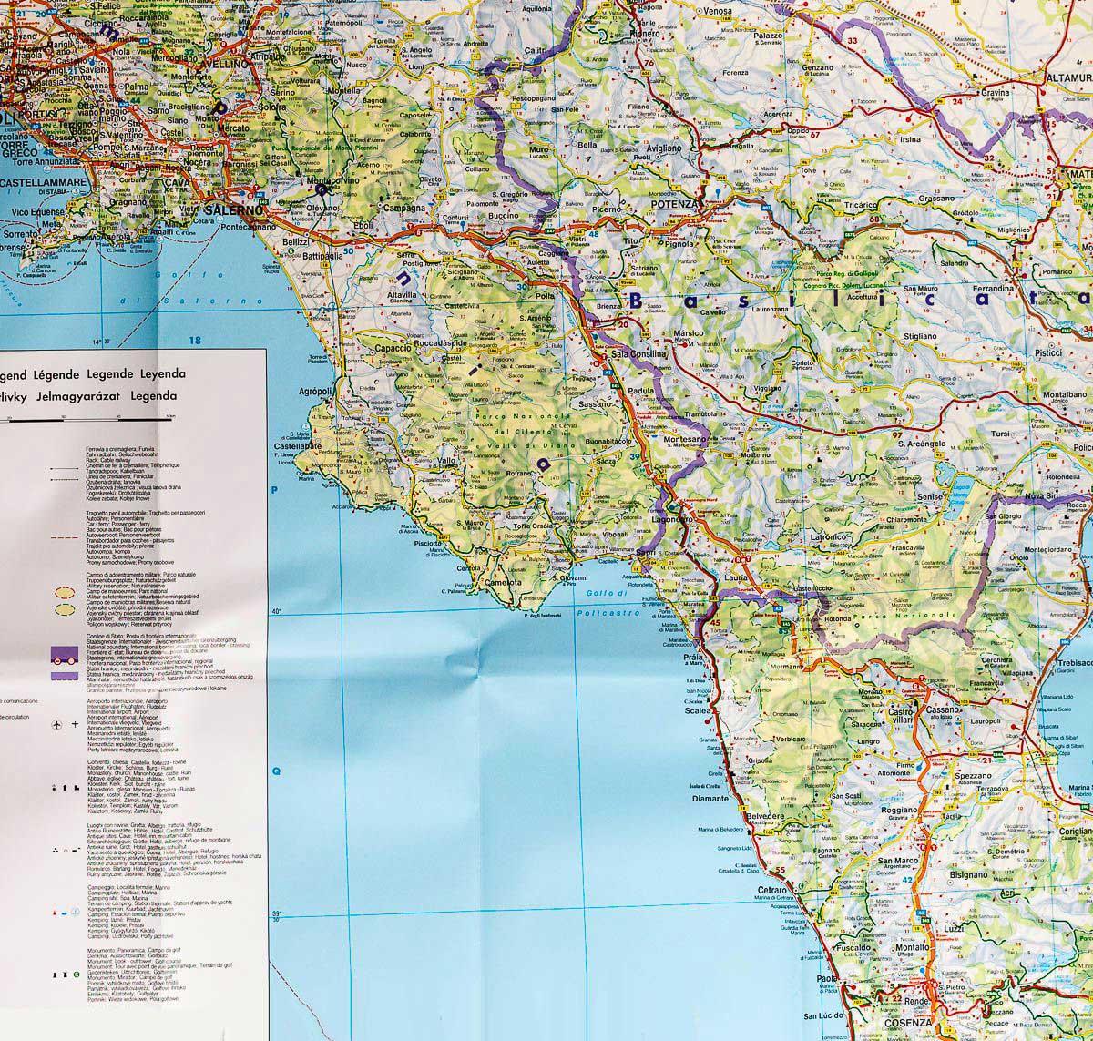 Carte routière Italie du Sud