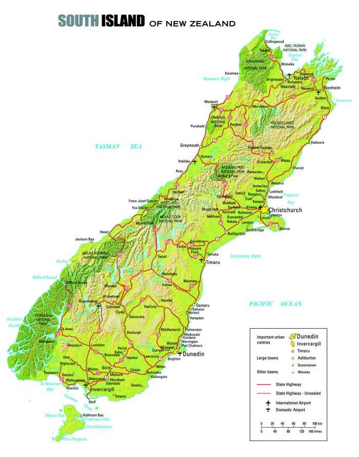 Carte Ile du Sud - Nouvelle Zélande