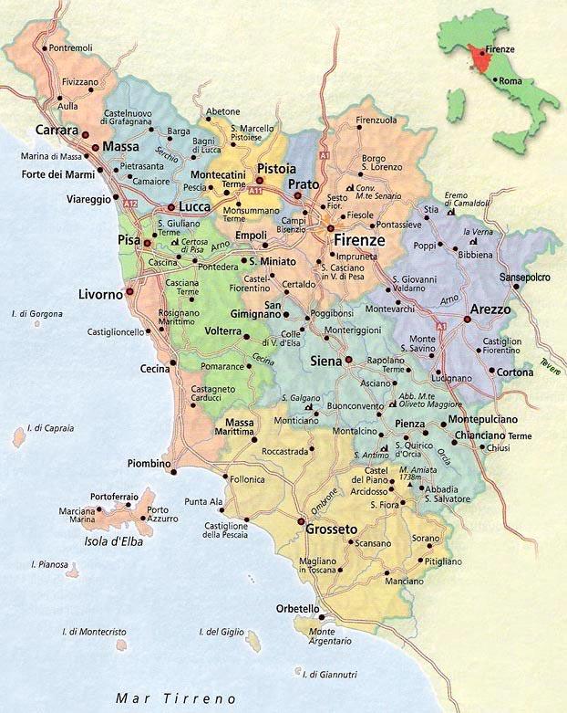 Toscane Italie carte