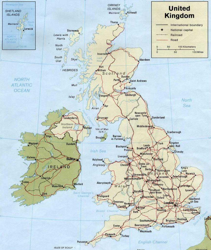 Carte de la Grande Bretagne