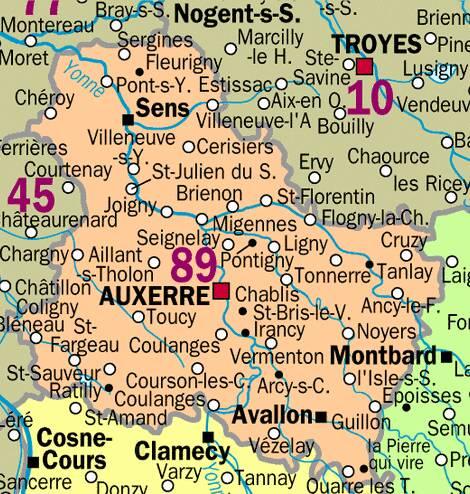 Carte Yonne avec villes