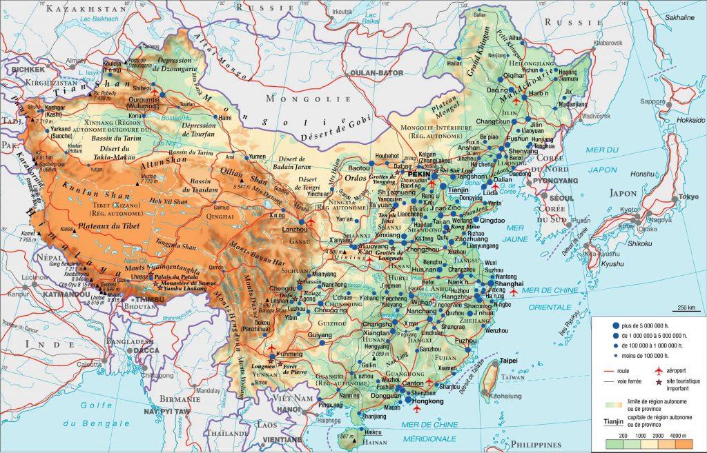 Carte géographique de la Chine