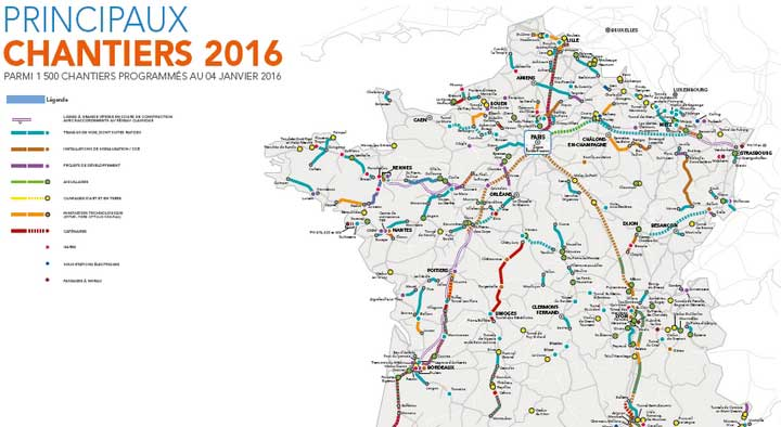 Les lignes françaises de Trains