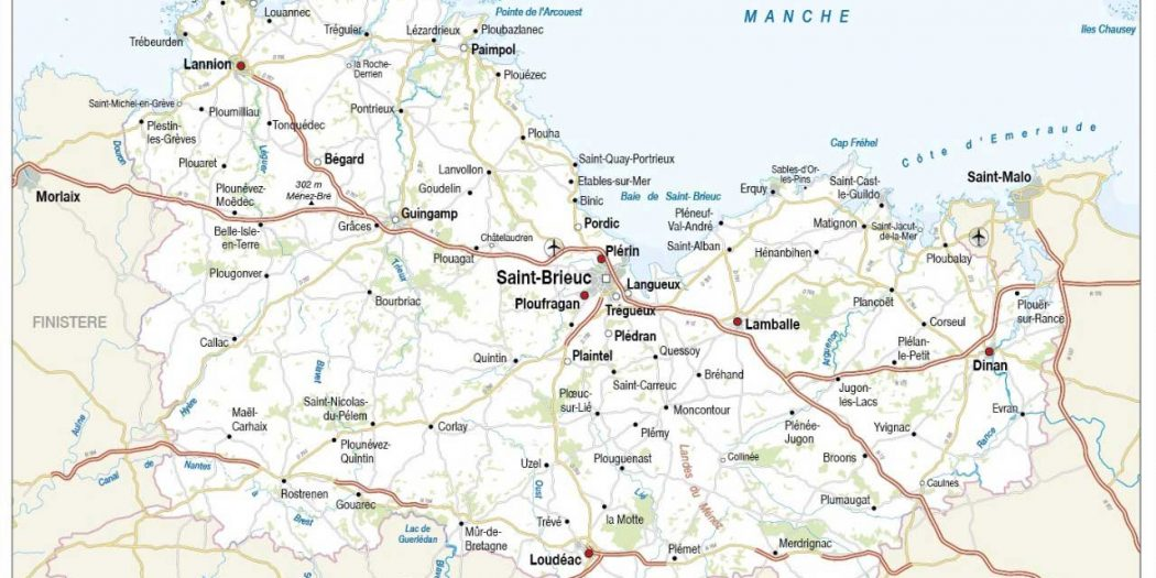 Carte Bretagne Cote Darmor.Carte Des Cotes D Armor Vacances Arts Guides Voyages