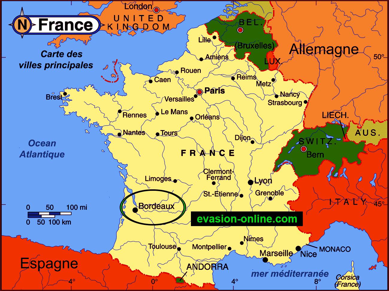 bordeaux carte de france Carte Bordeaux » Vacances   Arts  Guides Voyages