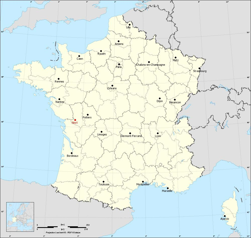 Niort sur la carte de France