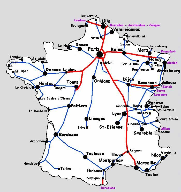 lignes tgv france carte - Photo