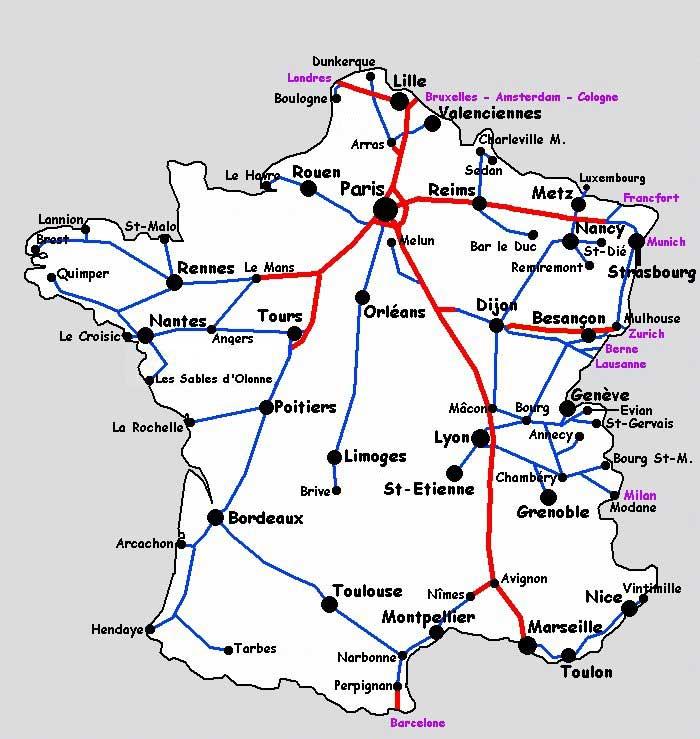 Carte de France du TGV