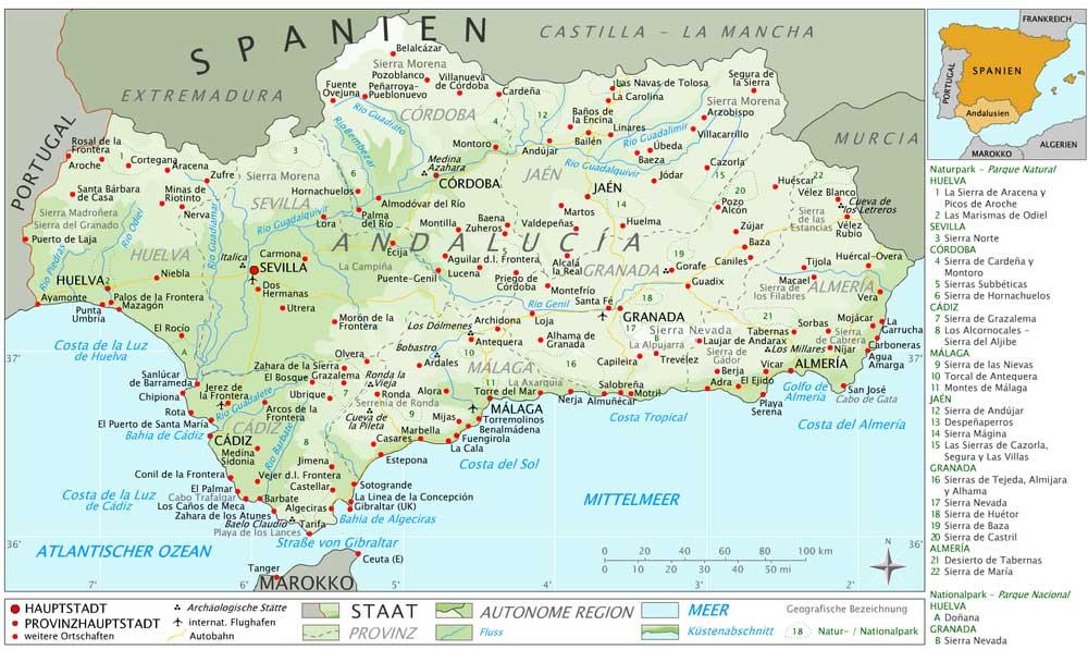 Carte Andalousie Espagne