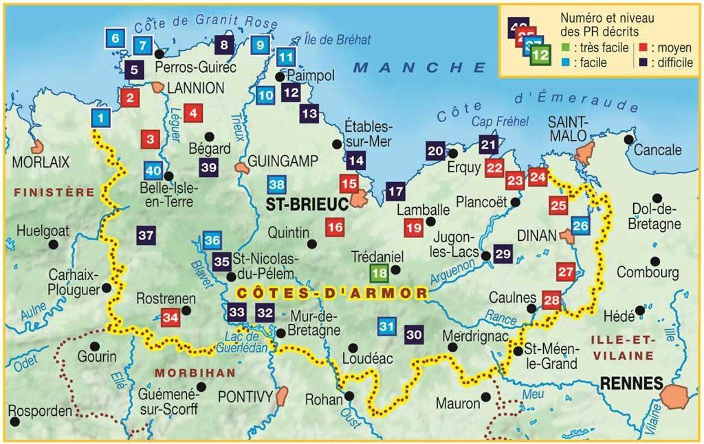 Carte des Côtes d'Armor touristique