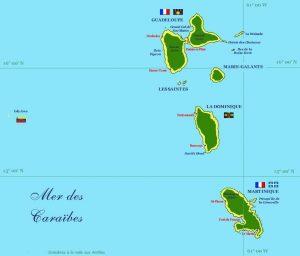 Martinique et Guadeloupe - Carte des Antilles