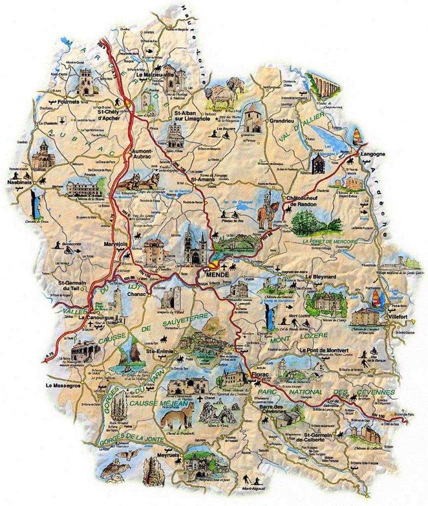 Carte touristique- La Lozère