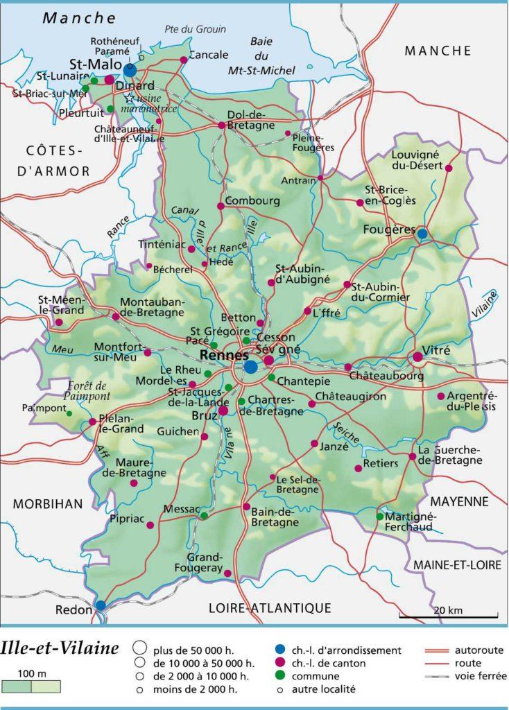 Ille-et-Vilaine - Carte HD