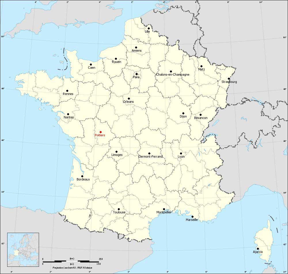 Poitiers sur la carte des régions