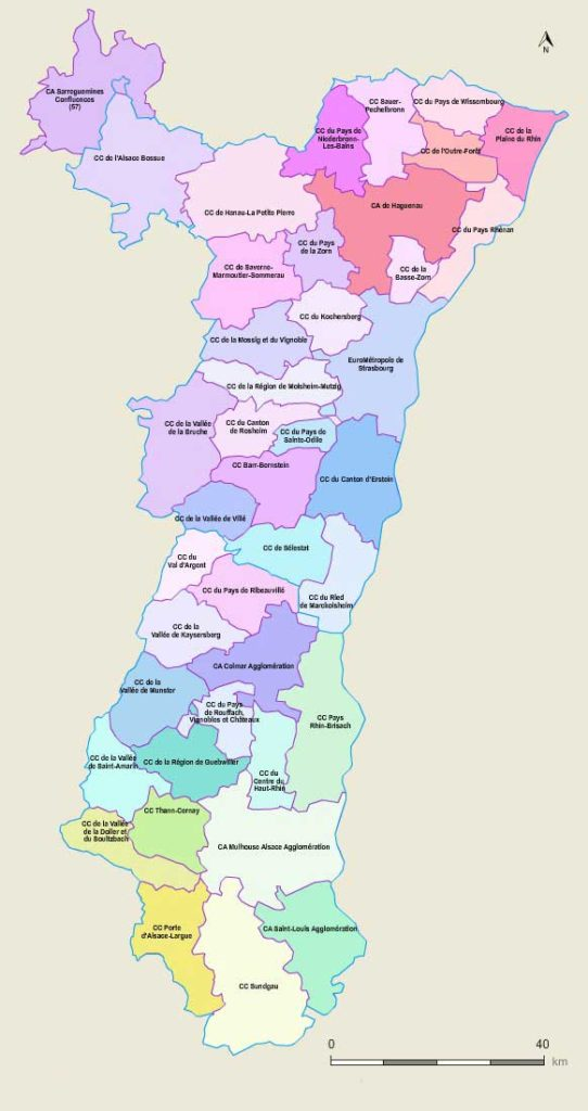 Carte es communes de l'Alsace