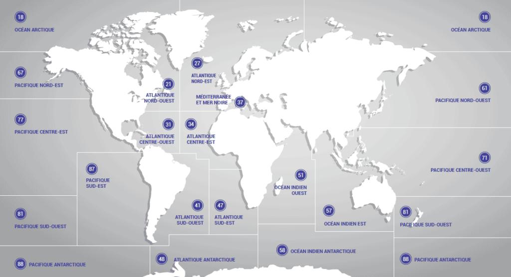 Carte des zones de pêche