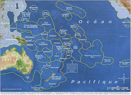 Carte Océan pacifique - Océanie