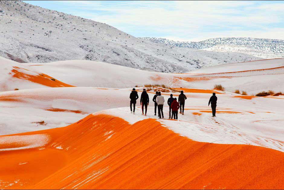 La neige dans le désert du Sahara