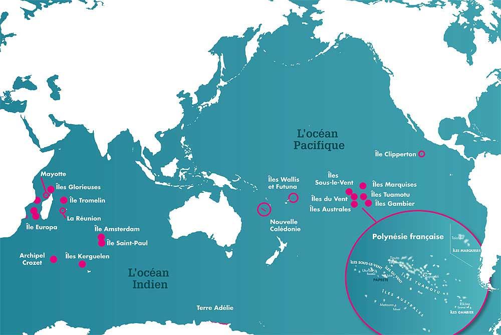 Polynésie - Carte océan pacifique