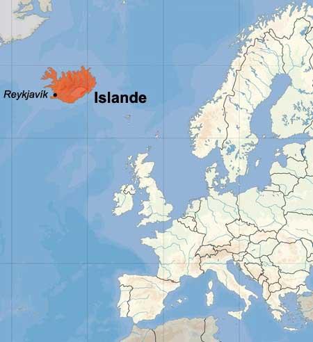Islande - Carte Europe