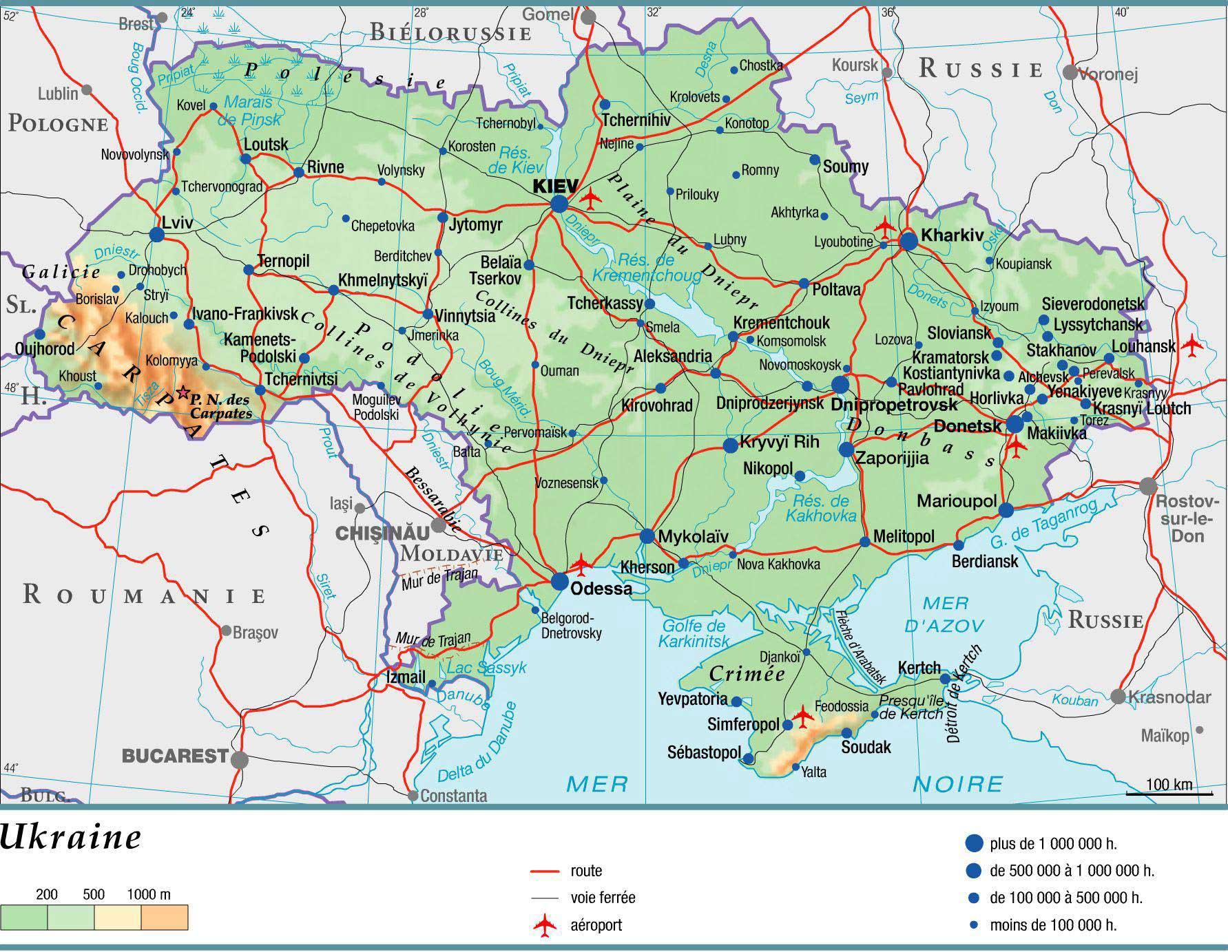 Est De Ukraine Carte Villes