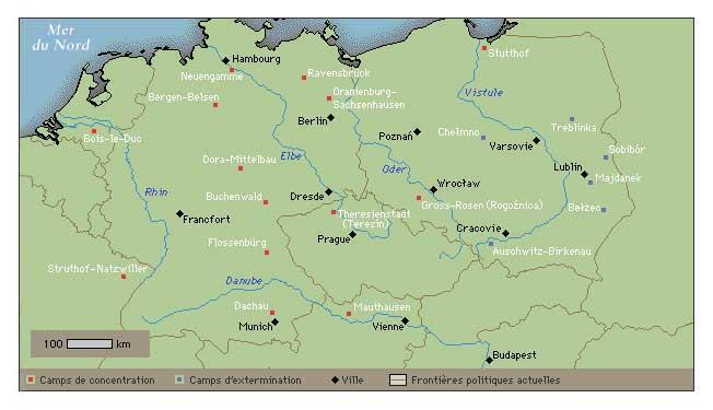 Carte des camps de concentration