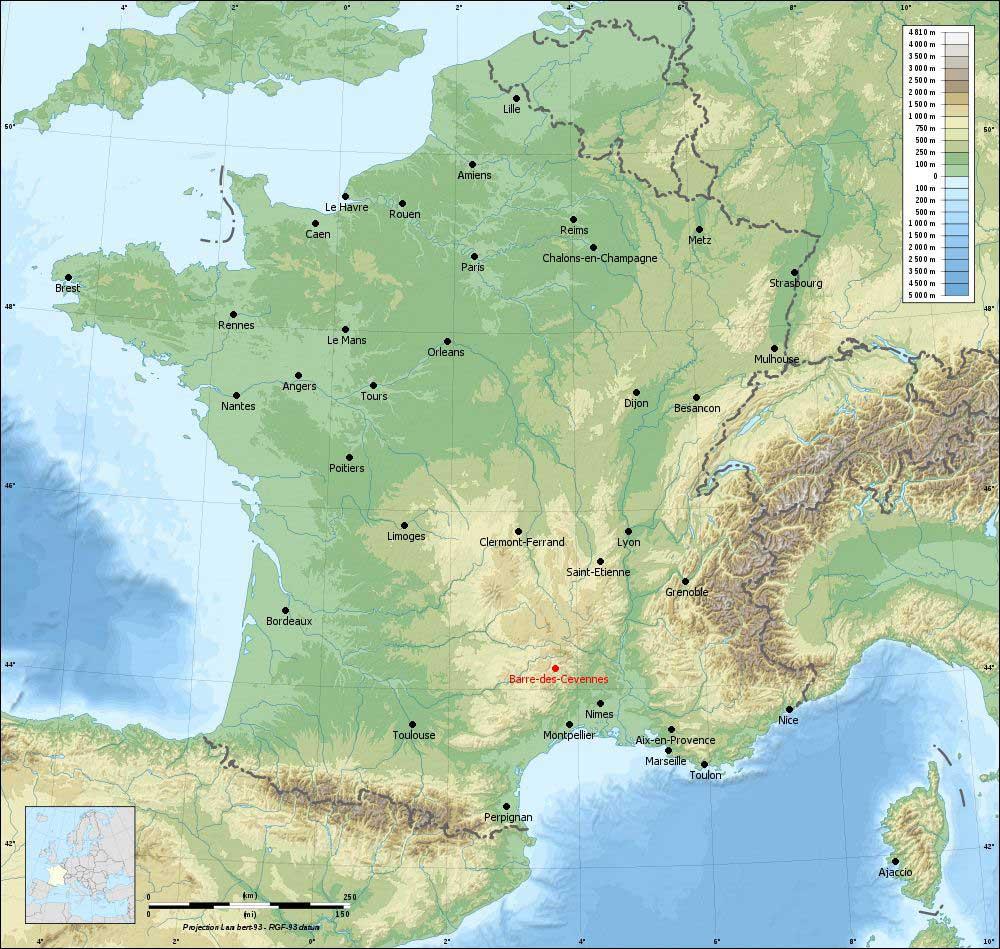 Carte du relief des Cévennes