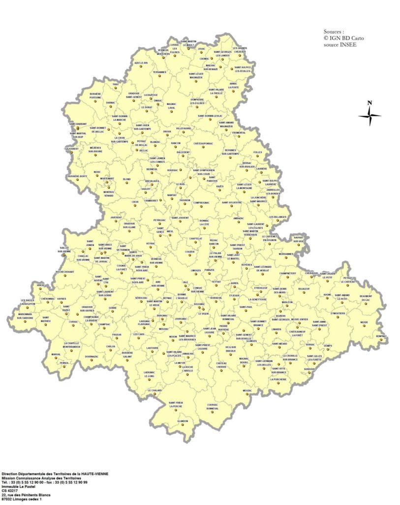 Carte de la Haute Vienne (87)