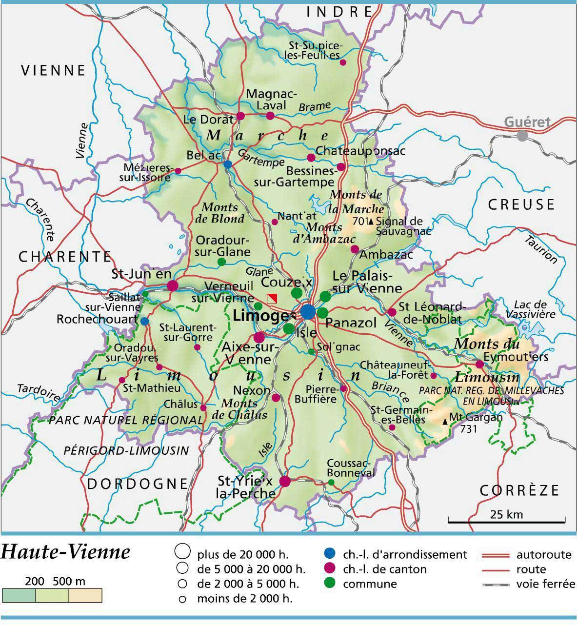 Carte Touristique Haute Vienne.Carte De La Haute Vienne Vacances Arts Guides Voyages