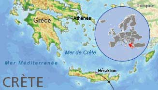 Crète - Carte du monde