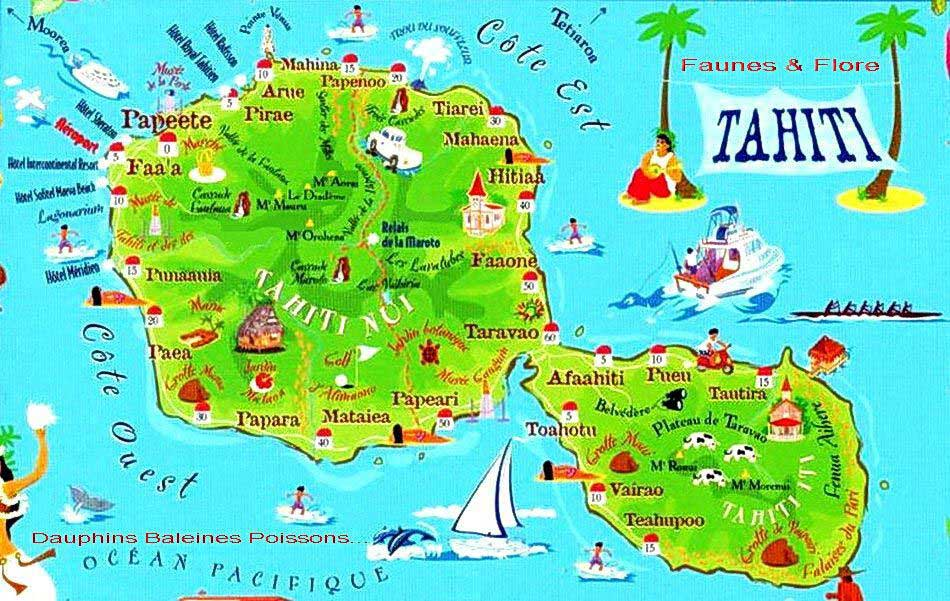 Plan de Tahiti - Carte du tourisme