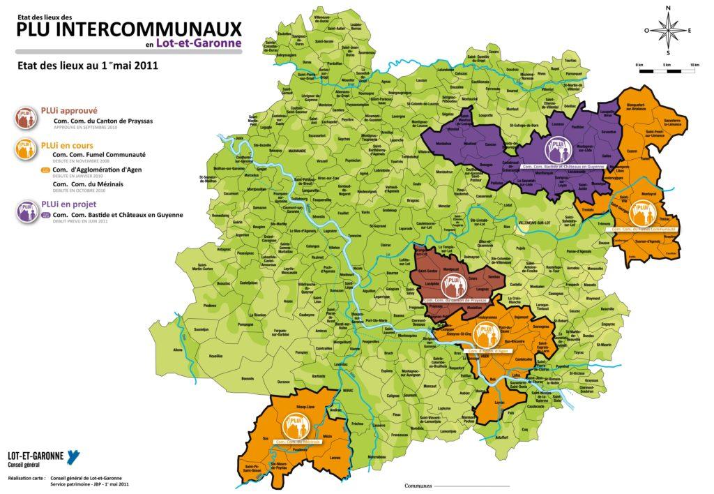 Carte des communes du Lot et Garonne
