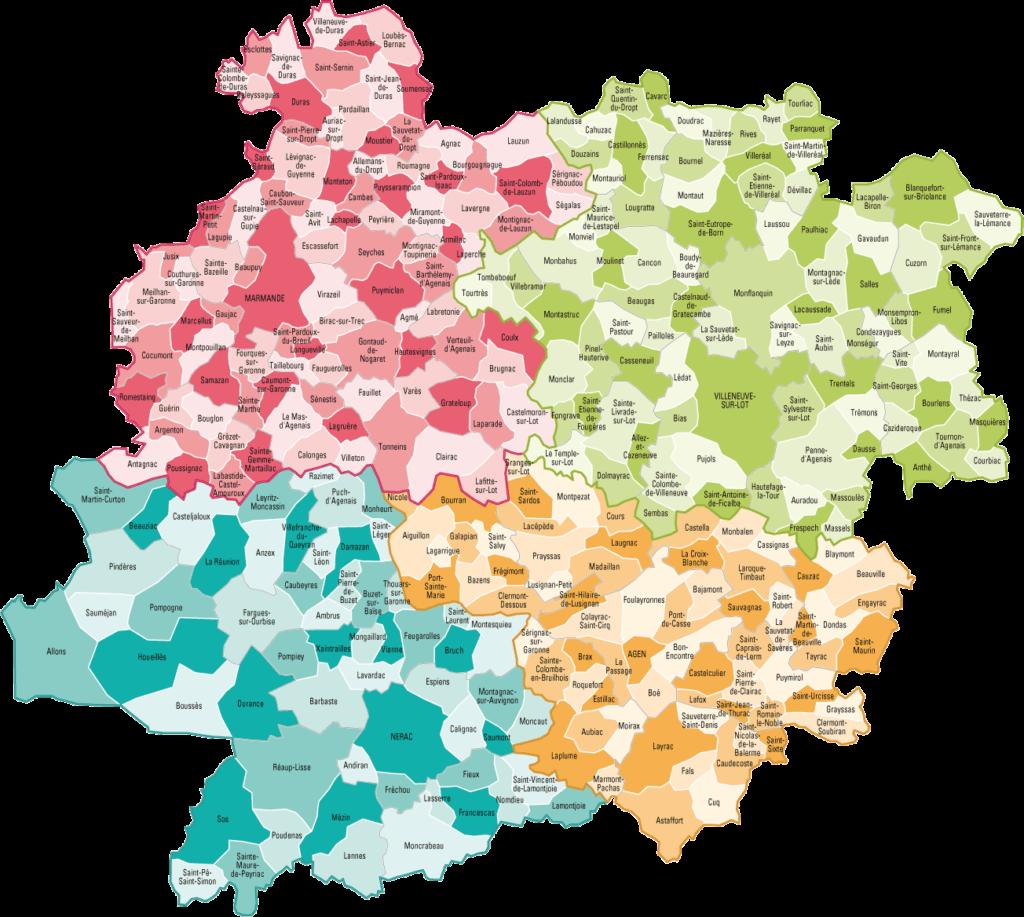 Carte des villes du Lot et Garonne