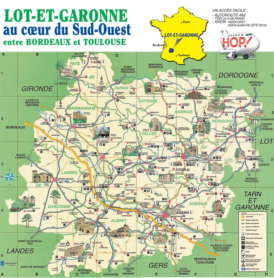 Lot et Garonne carte touristique