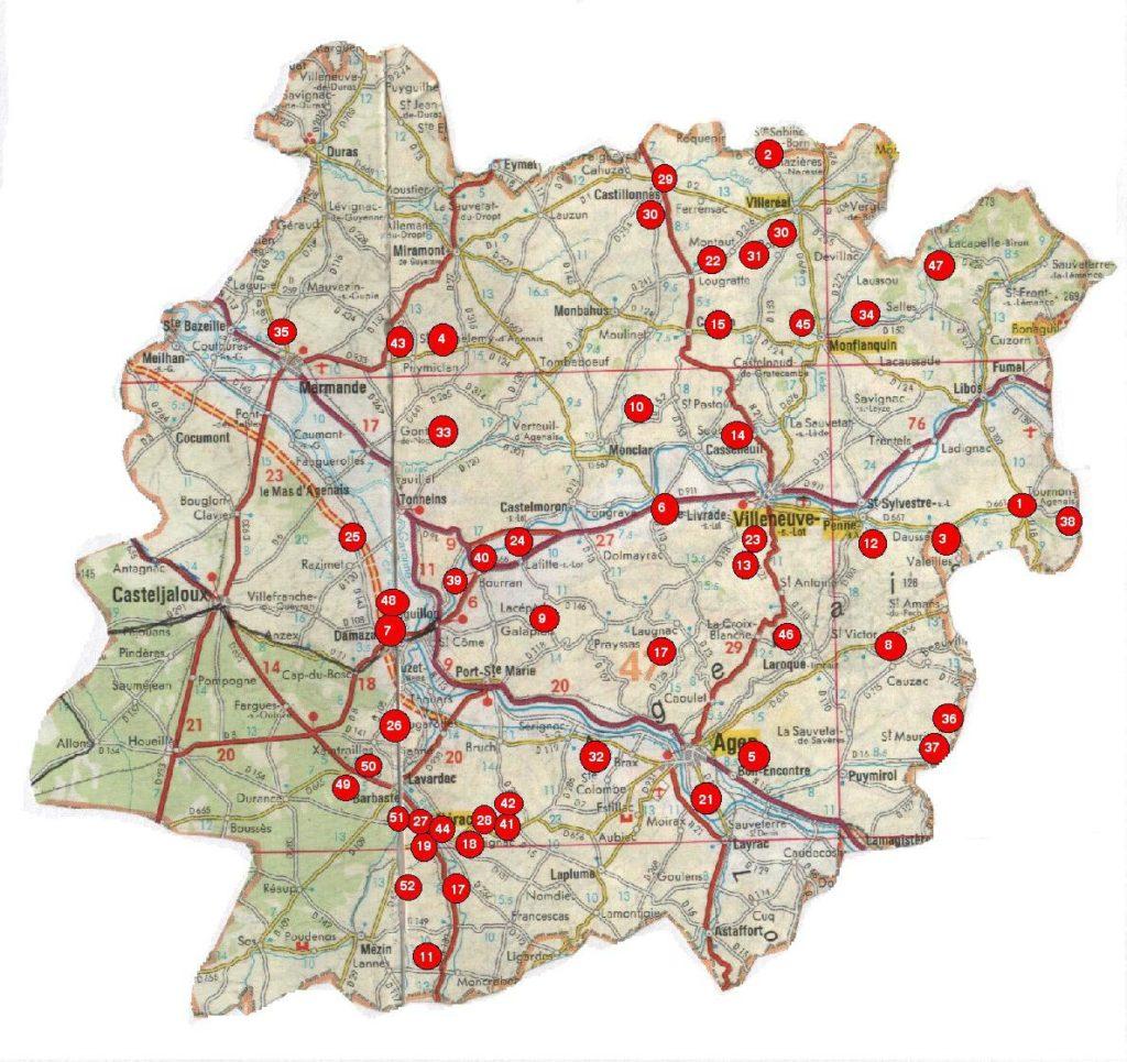 Carte Lot et Garonne villes