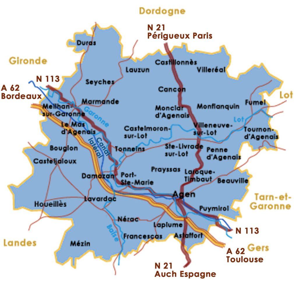 Carte autoroutes et routes  du Lot et Garonne
