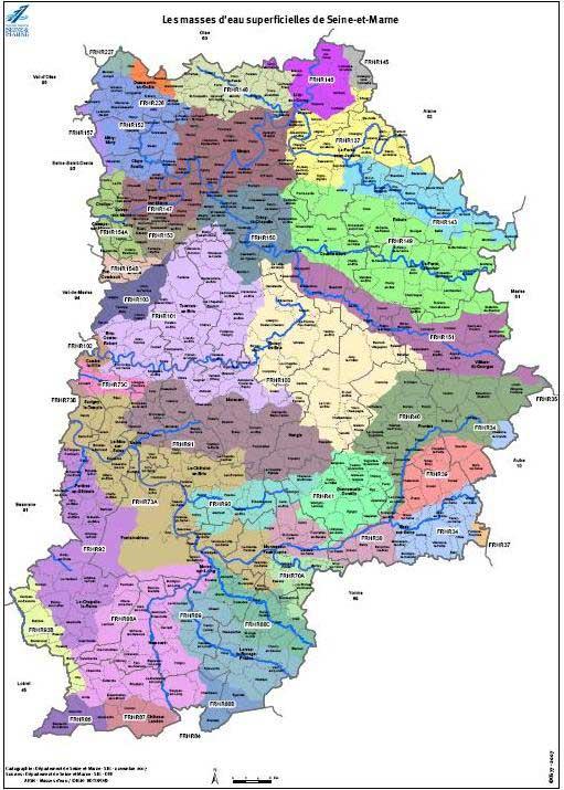 Carte détaillée du département 77